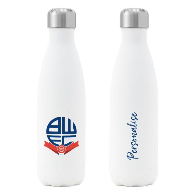 Personalised Bolton Wanderers FC Insulated Water Bottle – White
