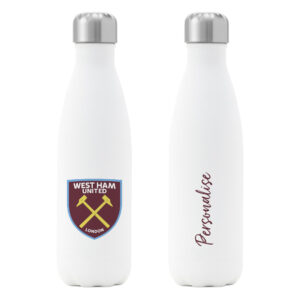 Personalised West Ham United FC Insulated Water Bottle – White