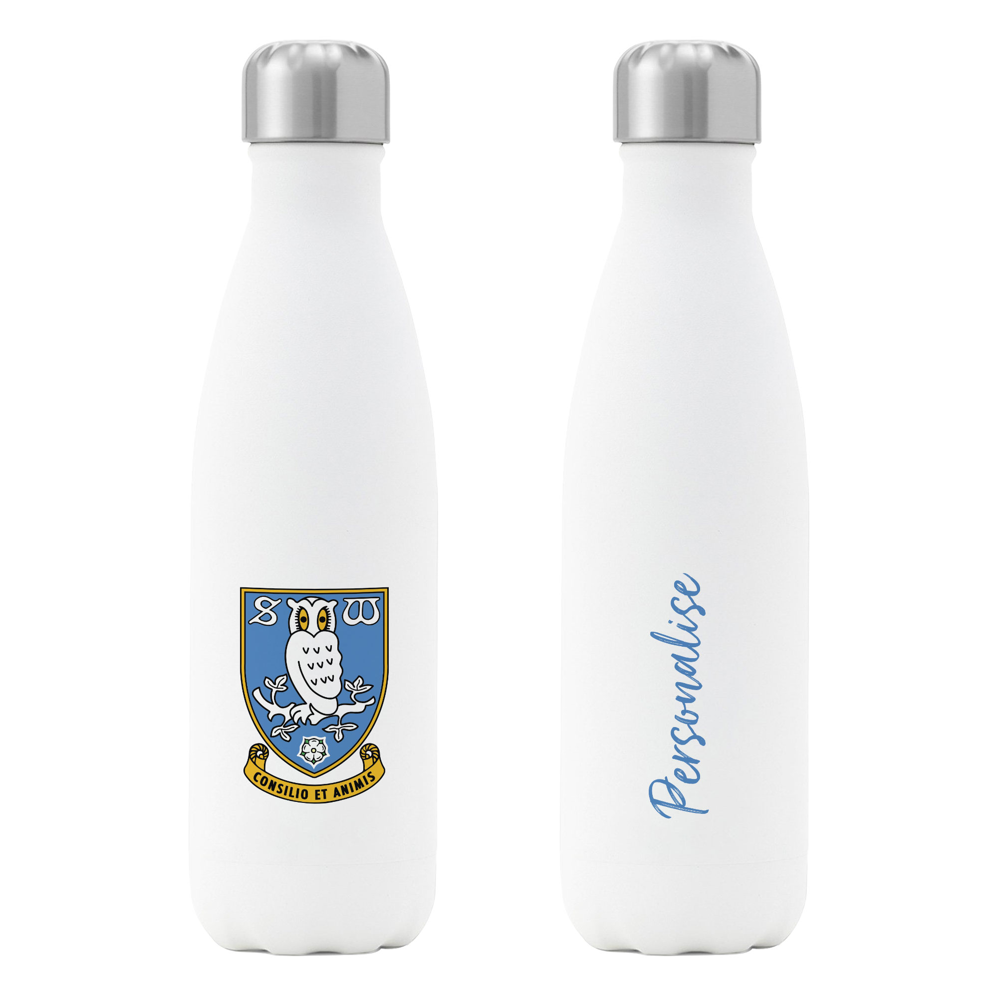 Personalised Sheffield Wednesday FC Insulated Water Bottle – White
