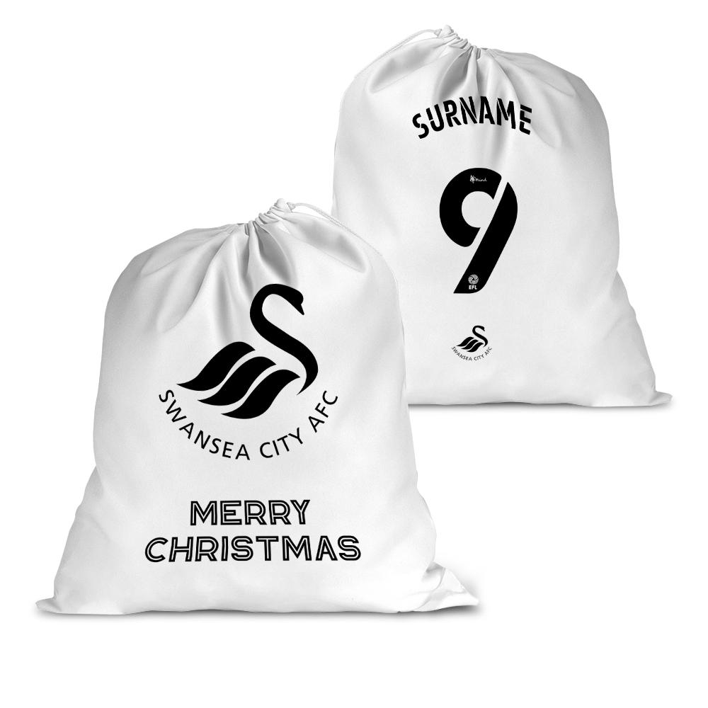 Personalised Swansea City FC Back of Shirt Santa Sack