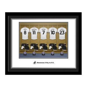 Personalised Swansea City FC Dressing Room Photo Framed