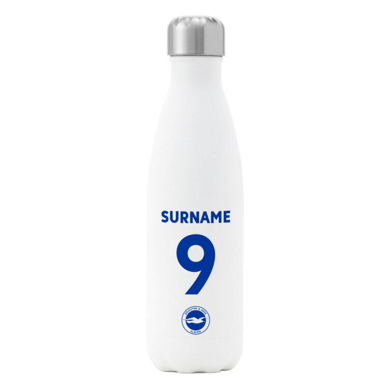 Personalised Brighton & Hove Albion FC Shirt Insulated Water Bottle – White