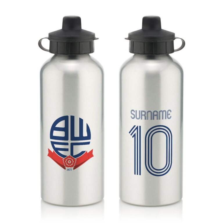 Personalised Bolton Wanderers FC Retro Shirt Water Bottle