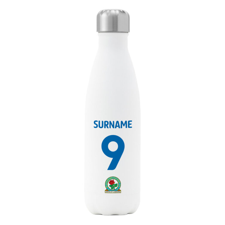 Personalised Blackburn Rovers FC Shirt Insulated Water Bottle – White