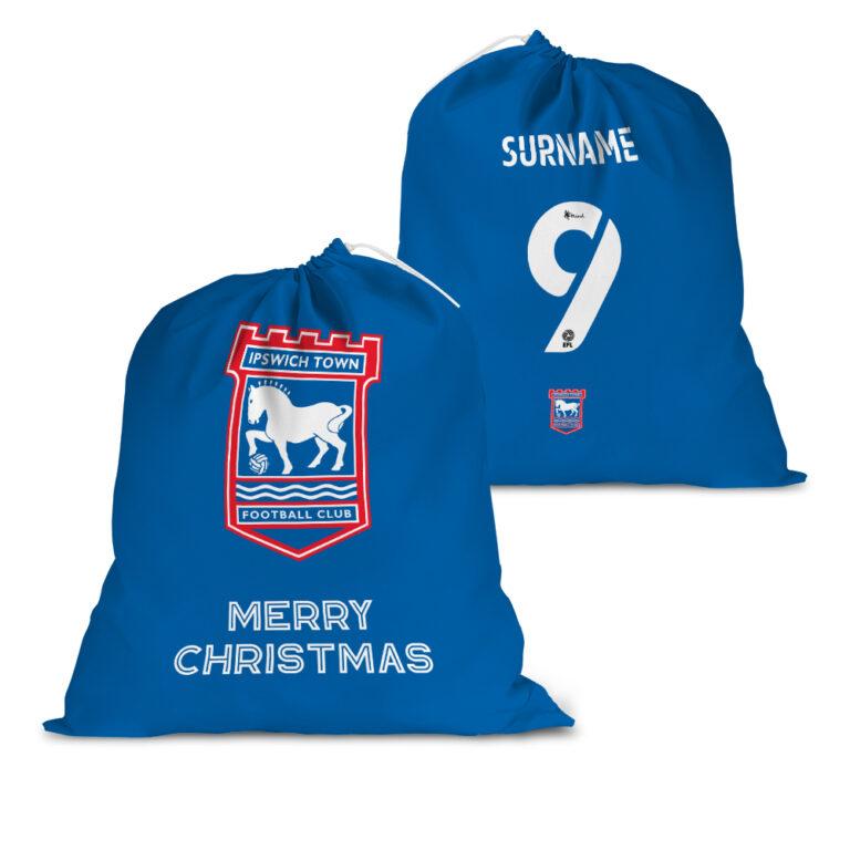 Personalised Ipswich Town FC Back of Shirt Santa Sack