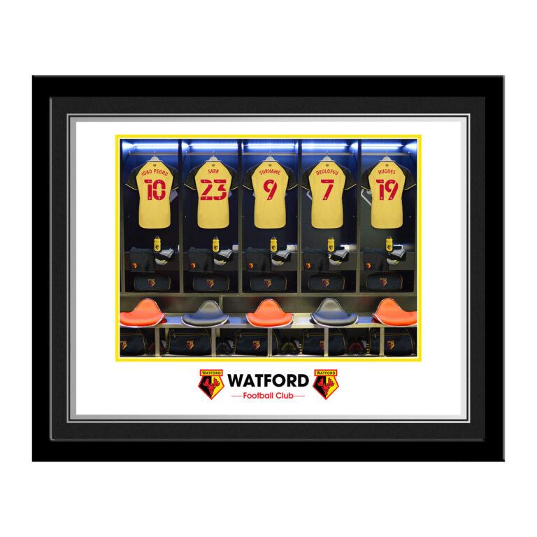 Personalised Watford FC Dressing Room Framed Photo