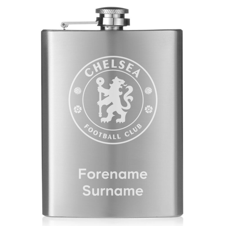 Personalised Chelsea FC Crest Hip Flask