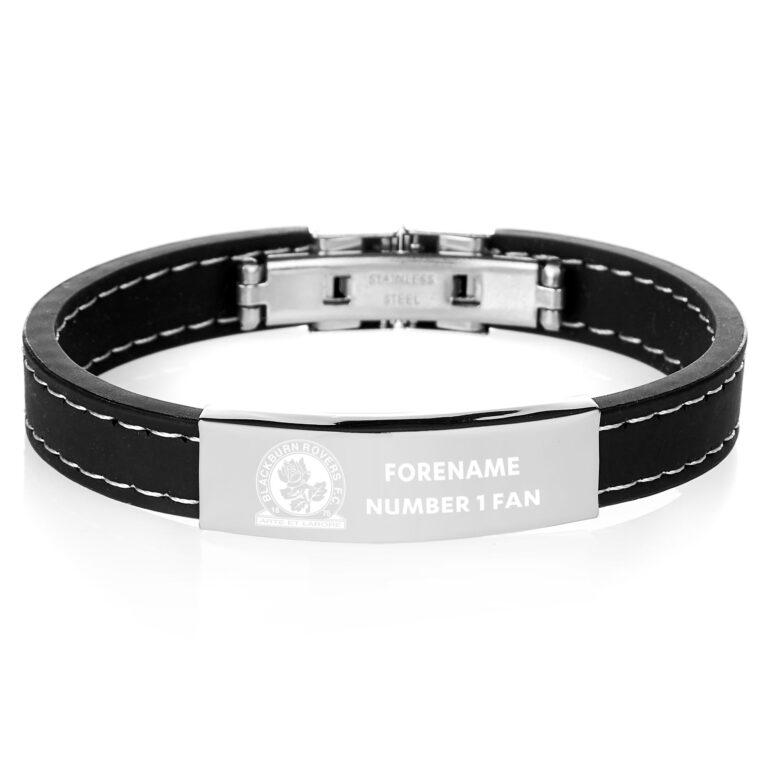 Personalised Blackburn Rovers FC Steel & Rubber Bracelet