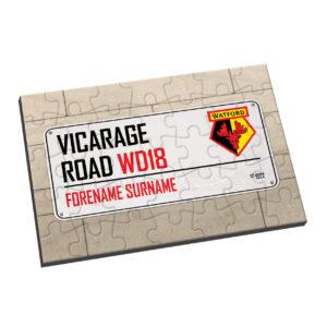 Personalised Watford FC Street Sign Jigsaw