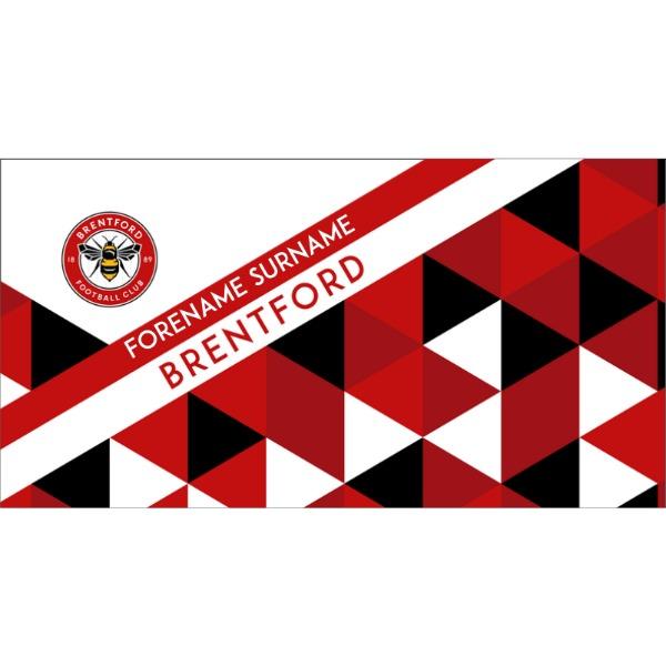 Personalised Brentford FC Geometric Beach Towel – 80cm x 160cm