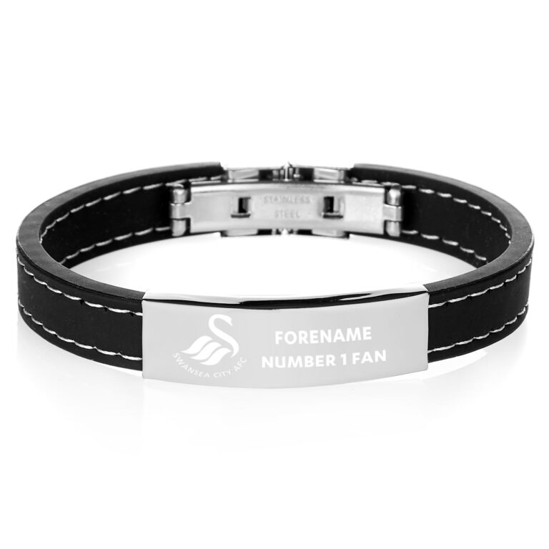 Personalised Swansea City FC Steel & Rubber Bracelet
