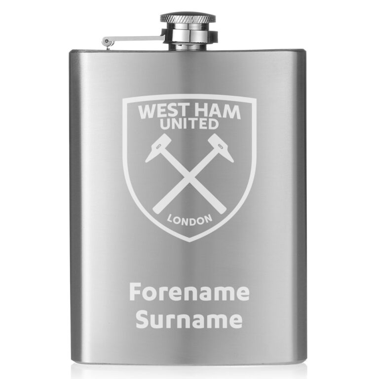 Personalised West Ham United FC Crest Hip Flask