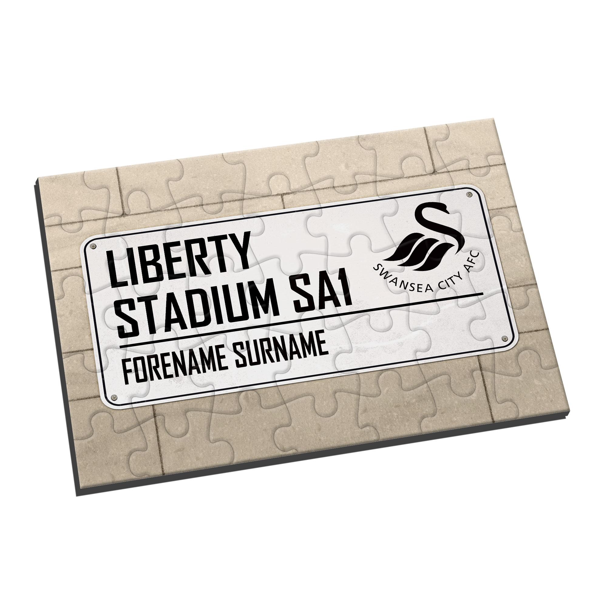 Personalised Swansea City FC Street Sign Jigsaw